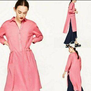 Zara X-Small Pink Long Tunic Shirt